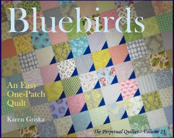 Bluebirds Quilt Pattern, Modern Quilt Pattern, Easy Quilt, Scrap Quilt, PDF, Immediate Delivery, qtm