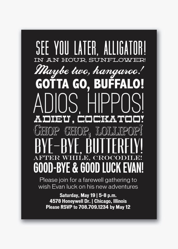 farewell party typography invitation custom printable