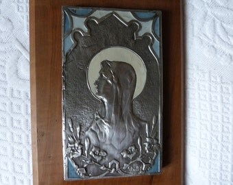 Antique Artnouveau French religious frame icon w Holy virgin Mary Madonna, signed silver relic w pewter cloisonne w enamel on wooden frame