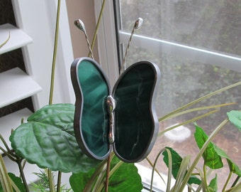 Stained glass Green and White Swirl Opalescent Glass Butterfly - Stained Glass -  Garden/Potted Plant Stake