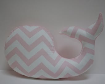 Pink chevron WHALE pillow - nautical baby nursery decor plushie - shower gift for new mom