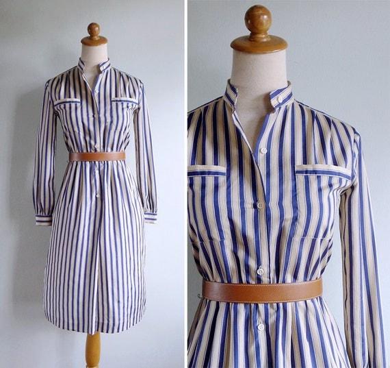 Vintage 80's Pajama Stripe Cream & Blue Silky Shirt Dress XS