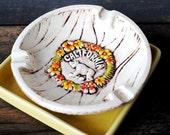 Vintage California Pottery Bear Ashtray, Faux Wood White Treasure Craft 1960s Souvenir Collectible
