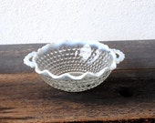 Hocking Glass Bowl, Depression Era Opalescent Moonstone Two Handle Hobnail 1940s Collectible Serving Decor