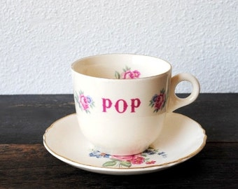 "Antique Rose China Tea Cup and Saucer, ""POP"" Personalized Pink & Blue Roses, Gold Trim"