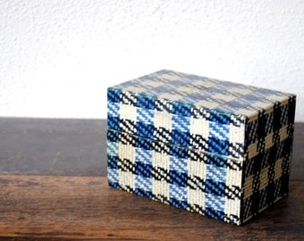 Vintage Metal File Box, Unique Black Blue White Tweed Office Index Card, Kitchen Recipe Storage Organizer