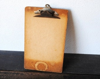 Vintage Industrial Metal Wood Clipboard, Home Office Supply Display Decor