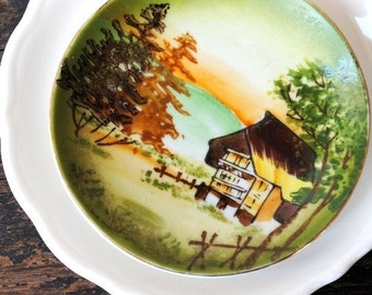 Occupied Japan Collector Plate Pin Dish, Mini Scenic Hand Painted Gorgeous Vintage Antique Collectible