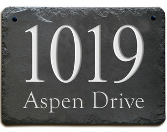 STONE ADDRESS Plaque Marker / Carved House Slate / Circa /  Personalized sign #MA-3SB