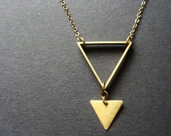 Brass Triangle Necklace Minimalist arrow raw industrial