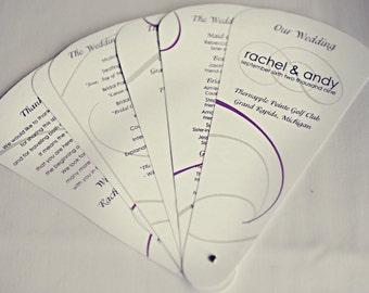 SET of 10+ Custom Wedding Program Fans COMPLETELY custom design & colors