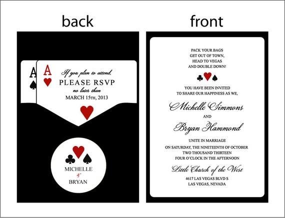 Panel pocket classic vegas vegas or poker themed wedding for Las vegas themed wedding invitations uk