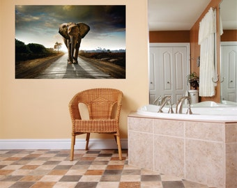 Oversized  Elephant Wild African Safari Scene Picture Art Graphic Design Image Bedroom Living Room Decor Wall Decal 15x30 larg433