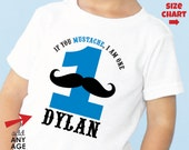 Mustache Birthday Shirt or Bodysuit (Blue & Black) - Personalized Mustache Birthday Shirt with child's age and name
