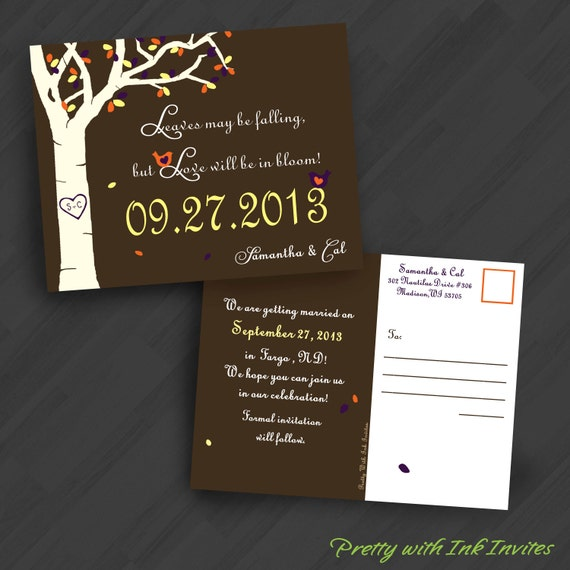 Fall Wedding, Engagement, Shower, Save the Dates. Tree, Autumn, Lovebirds, Owls, Brown, Orange, Red. Printed/DIY/Samples avail
