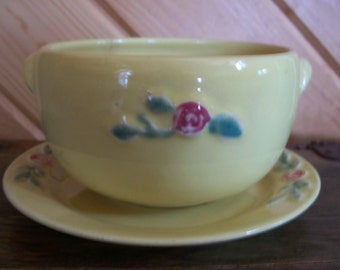 Vintage Yellow Cereal Bowl and Plate