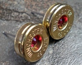 45 Colt Winchester Brass Bullet Head Earrings Your Choice of Birthstone Swarovski Crystal FREE SHIPPING