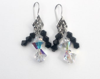 Platinum plate earrings with Swarovski crystals and Czech glass, black and white