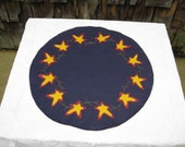 Primitive Americana Independence Day wool felt Navy Blue Star Penny Rug/Candle Mat