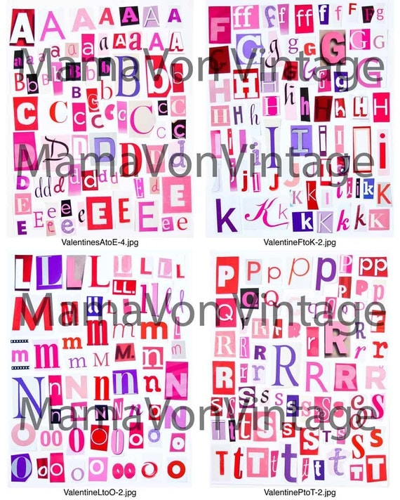 Items similar to Printable Magazine Letter Cutouts, Valentine ...