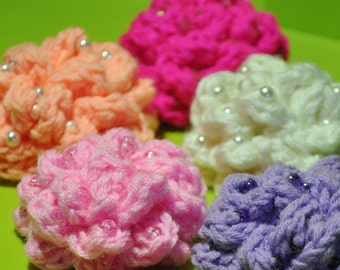 MADE TO ORDER -- Set of 2 Large Crochet Flowers with Beads in Your Choice of colour and bead type