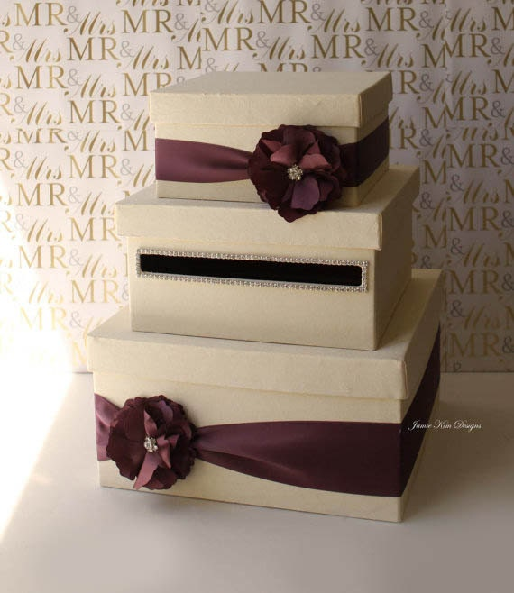 Wedding Card/ Money Box Gift Card Holder - choose your box & flower colors