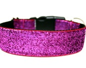 "Bright Pink Dog Collar 1.5"" Large Dog Collar"
