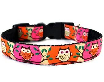 Retro Dog Collar Pink and Orange Owls SIZE MEDIUM