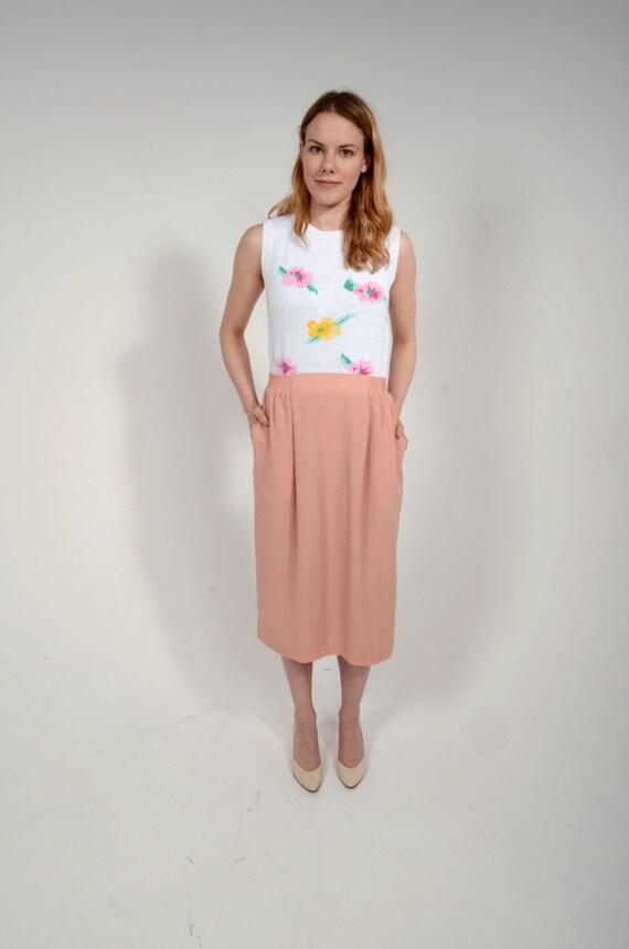 Vintage 70s Peach Skirt/ Pastel Skirt