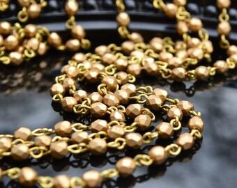Rosary Chain - 4mm Matte Gold Beads on Natural Brass Links - Czech Glass Bead Chain -3 Feet