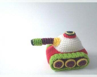 Amigurumi Tank, crochet doll,  ready to ship.