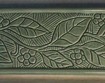 Ceramic  3x6 Border Tile -- Incised Flowering Vine Design -- MADE TO ORDER