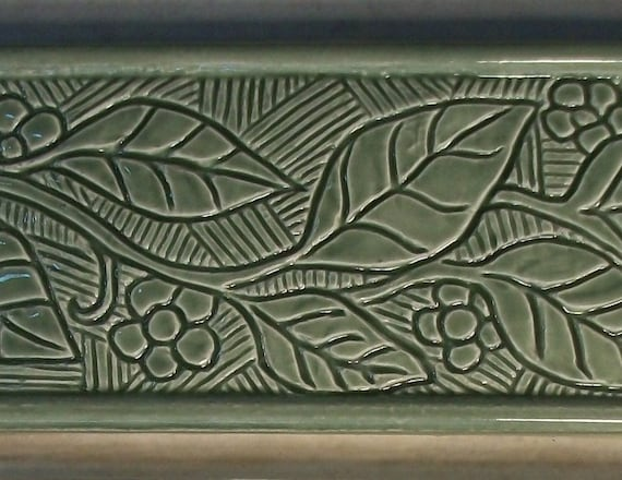 Ceramic 3x6 Border Tile Incised Flowering Vine Design