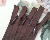 "Lot of 20 YKK  8"" Brown Hidden/Invisible Zippers"