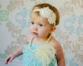 20% OFF ORDER Ivory Shabby Flower Headband Flower Girl and Infant Baptism Headband Toddler Headband W