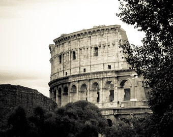 Rome Italy - Roman Forum - Black and White Sepia Fine Art Photograph - Coliseum Section
