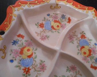 Beautiful and Unusual Handpainted Japanese Divided Serving Dish