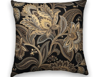 Gold Black Jacobean Floral Decorative Throw Pillow Cover-Cotton,  18x18 or 20x20 or 22x22 Throw Pillow Cover Flowers-- Gold, Black