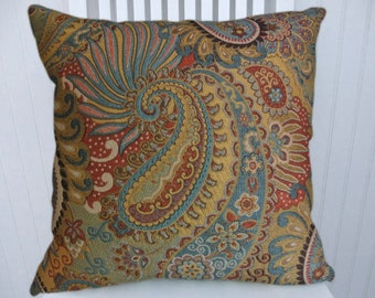 Turquoise Gold Decorative Pillow--18x18 or 20x20 or 22x22 Throw Pillow--Paisley and Flowers--Red, Turquoise, Gold, Pink, Green