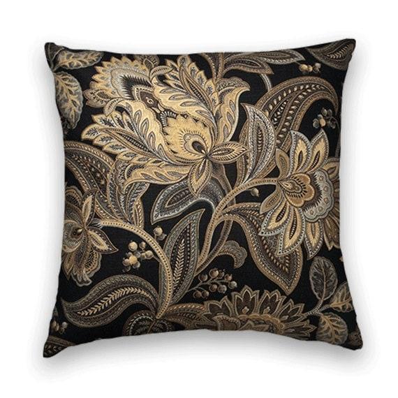 gold black jacobean floral decorative throw pillow. Black Bedroom Furniture Sets. Home Design Ideas