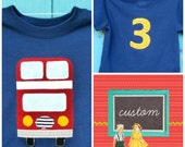 Bus Birthday T-shirt, London Double-Decker Bus Shirt with Rugby-Style Custom Age Applique, Many Sizes Available, MADE-TO-Order