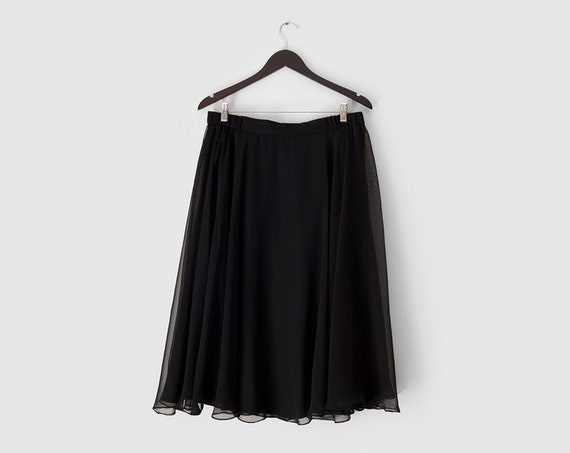 Vintage: black chiffon skirt chiffon midi skirt black full