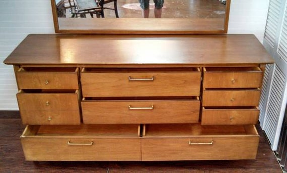 Vintage Drexel Triple Dresser Mid Century Retro with Mirror SOLID wood