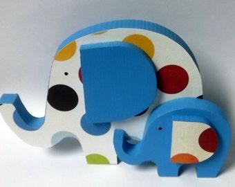 FREE SHIPPING! Elephant Baby and Mama -Nursery Decor - Child's Room Decor