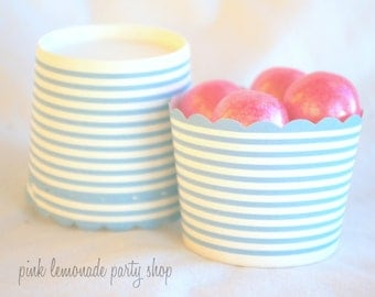 blue and white stripe-Nut/Candy/Baking Cups--25ct--Parties--cupcakes-gumballs-snacks