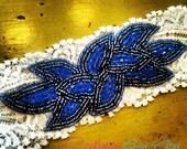 Blue Peacock Wedding Garter Set / Vintage Inspired Rhinestone Wedding garter / bridal garter / toss garter / Something Blue wedding garter