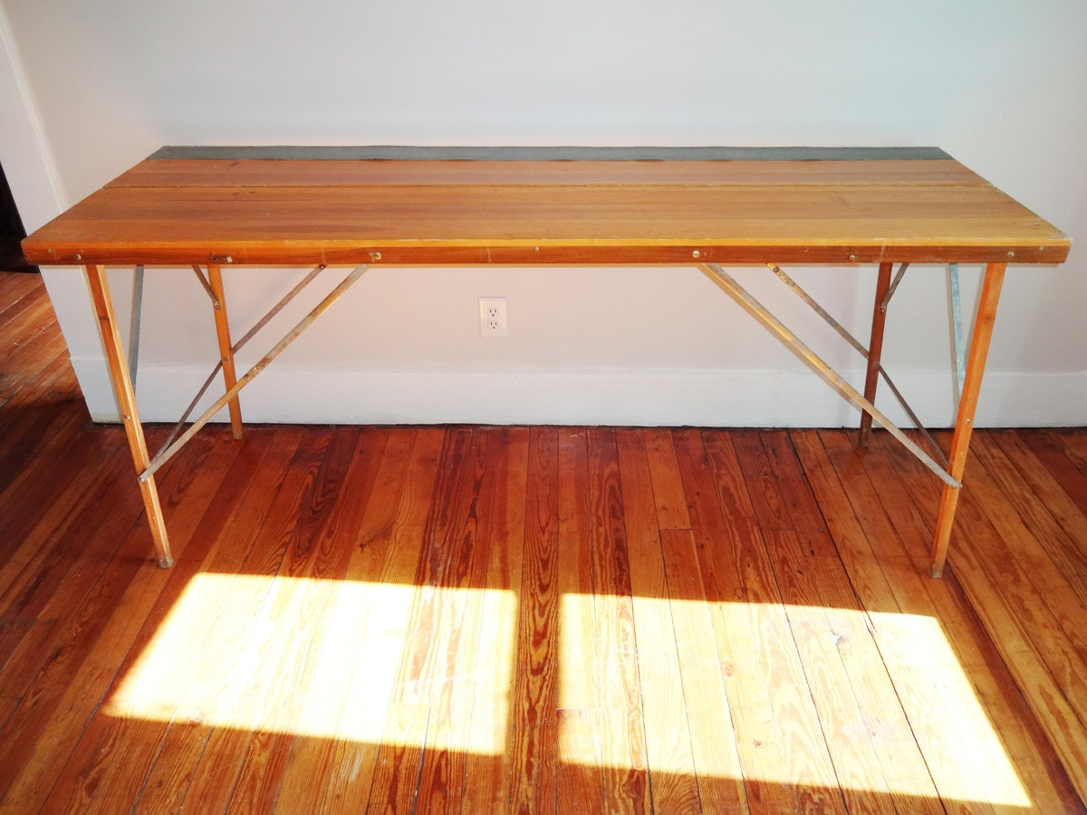 Large Vintage Wood Industrial Folding Desk Wall Paper