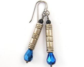 Long Sterling Silver and Blue Teardrop Earrings Tribal Textured Metal Column |AB3-12B