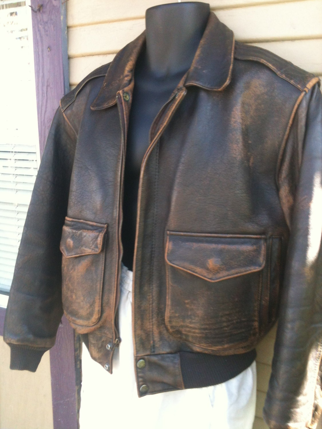 Vintage Mens A-2 style Distressed Leather Bomber by Manthreadz
