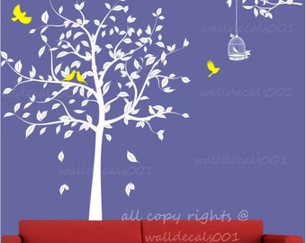 Tree Wall Decals ,Wall stickers, wall decor,wall art -The Loving Tree with Birds